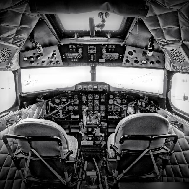 """The cockpit of a DC3 Dakota"" stock image"