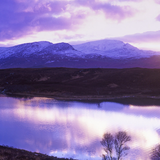 """Winter sunset, Ben Hope"" stock image"