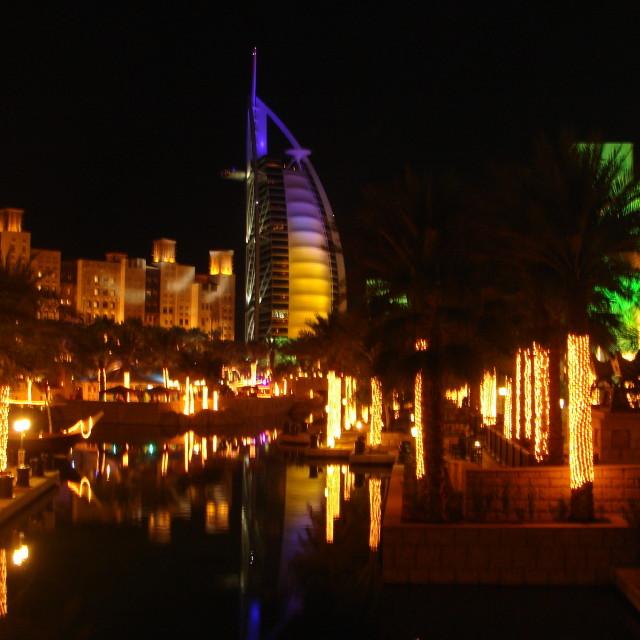 """""""Burj Al Arab at night"""" stock image"""