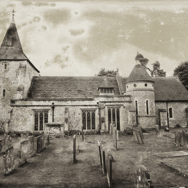 """""""Old English Church and Grave Yard"""" stock image"""