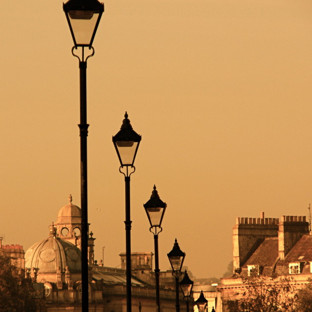 """Bath, Great Pulteney Street lamps"" stock image"