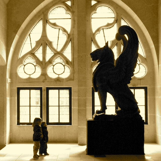 """Griffin in Pierrefond Castle France"" stock image"