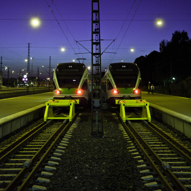 """Twins on rails"" stock image"
