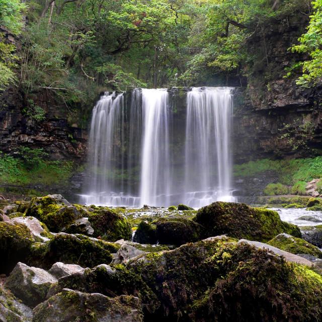 """Pontneddfechan Waterfall"" stock image"