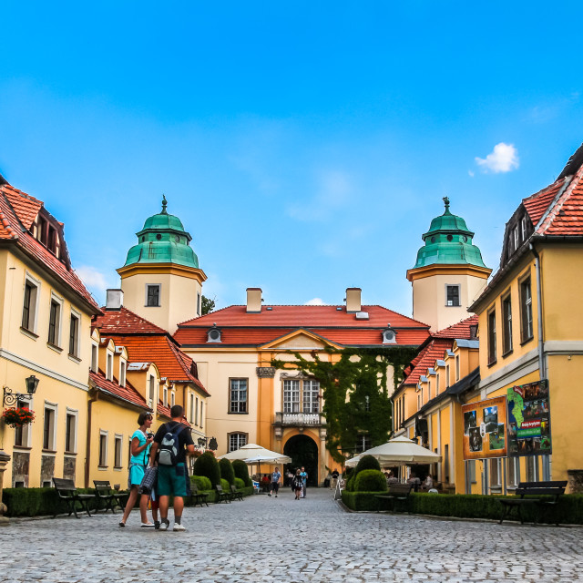 """Ksiaz Castle courtyard buildings"" stock image"