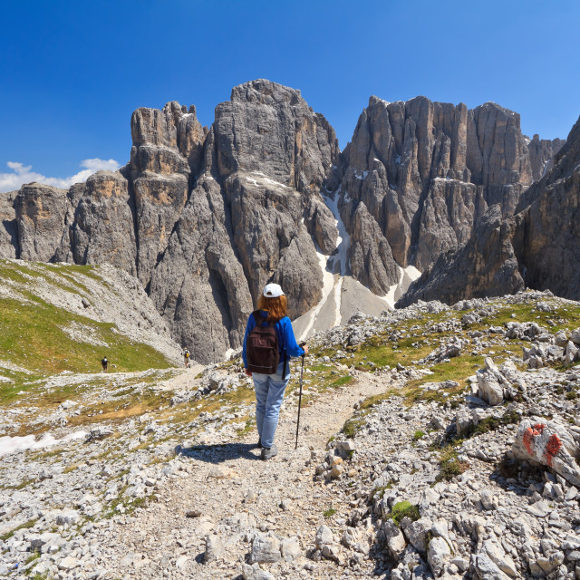 """Dolomiti - hiking in Sella mount"" stock image"