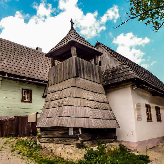 """Belfry in Vlkolinec ,Slovakia,Unesco"" stock image"