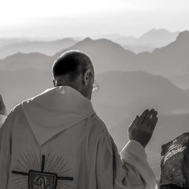 """Blessing the Valley from Mt. Sinai Cliff (Egypt)"" stock image"