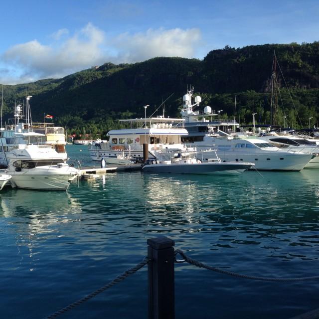"""Harbour, Eden Island, Mahe"" stock image"