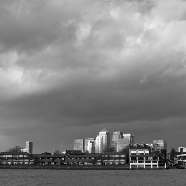 """""""Canary Wharf in black and white (3)"""" stock image"""