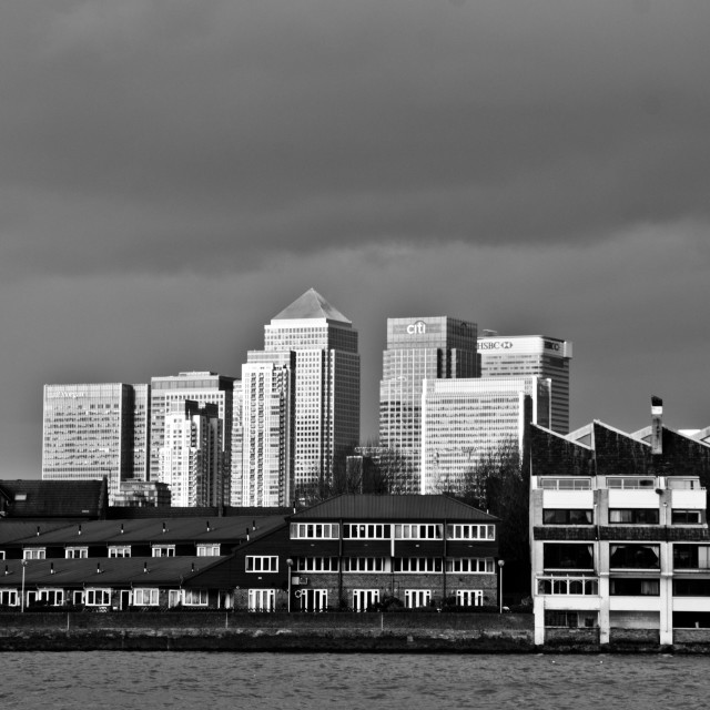 """""""Canary Wharf in black and white (1)"""" stock image"""