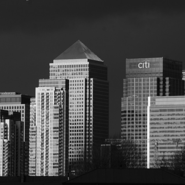 """""""Canary Wharf in black and white (2)"""" stock image"""