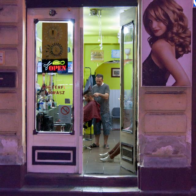 """budapest barber shop II"" stock image"