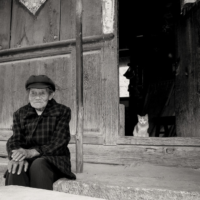 """Beautiful grandma and cat in Shangri-la, China"" stock image"