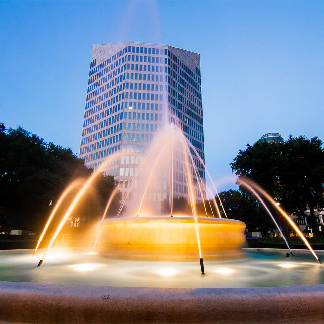 """Founder's Square Fountain (Dallas)"" stock image"