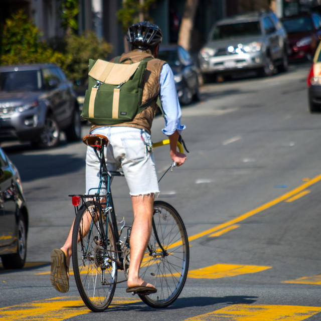 """""""Backpacking in the City"""" stock image"""