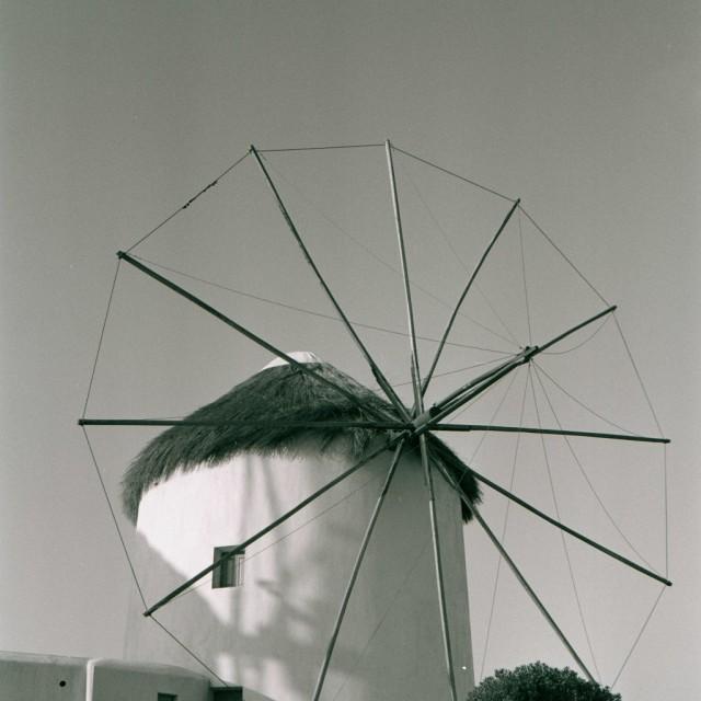 """""""Windmill in Mykonos"""" stock image"""