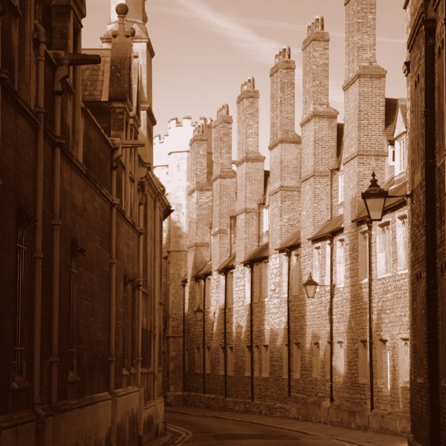 """Cambridge chimneys"" stock image"