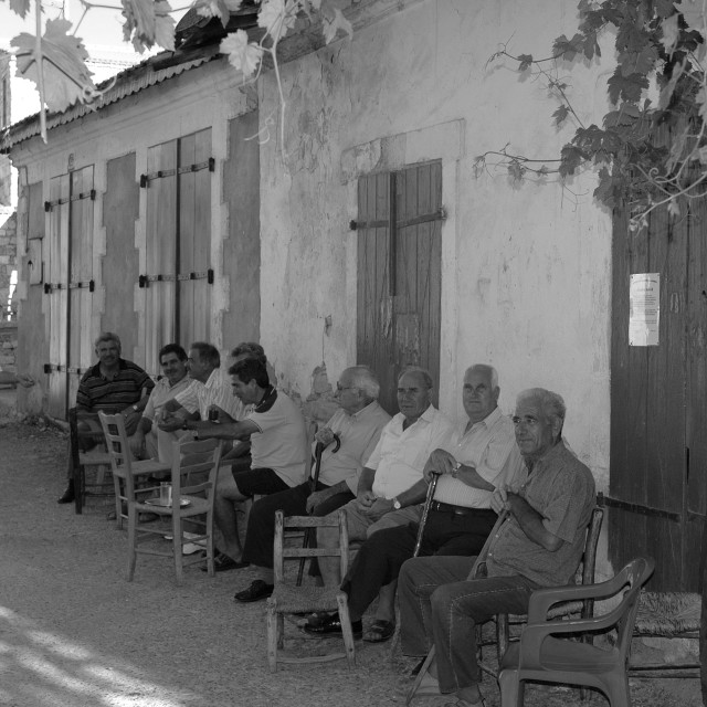 """""""Coffee shop in Cyprus village"""" stock image"""