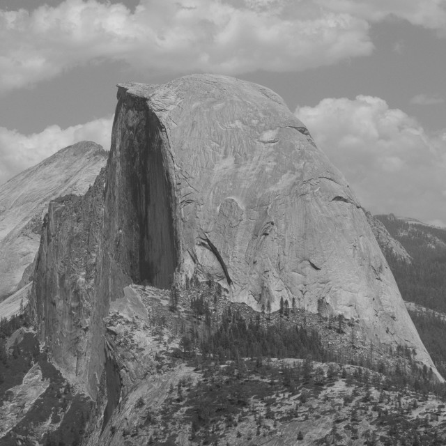 """Half Dome in black and white"" stock image"