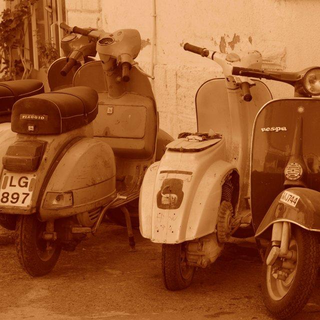 """Vespas in Old Nicosia"" stock image"