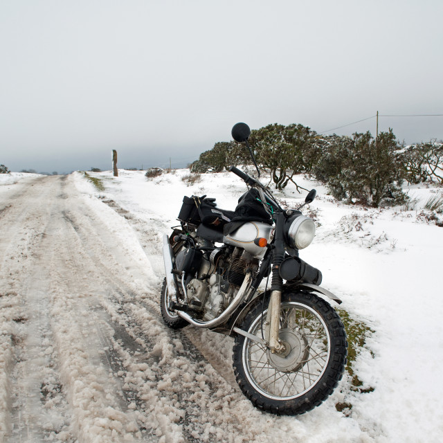 """Motorbike in snow"" stock image"