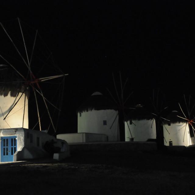 """Mykonos windmills at night"" stock image"