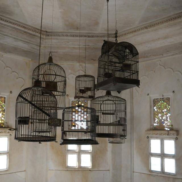 """Udaipur Palace birdcages"" stock image"
