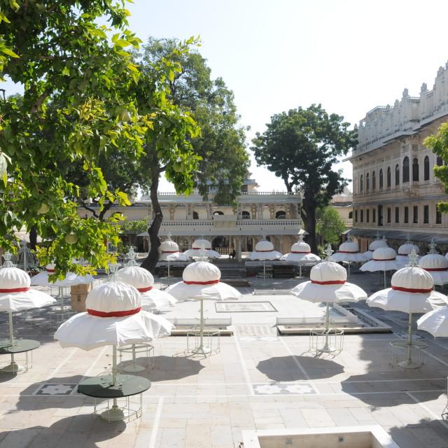 """Udaipur palace umbrellas"" stock image"