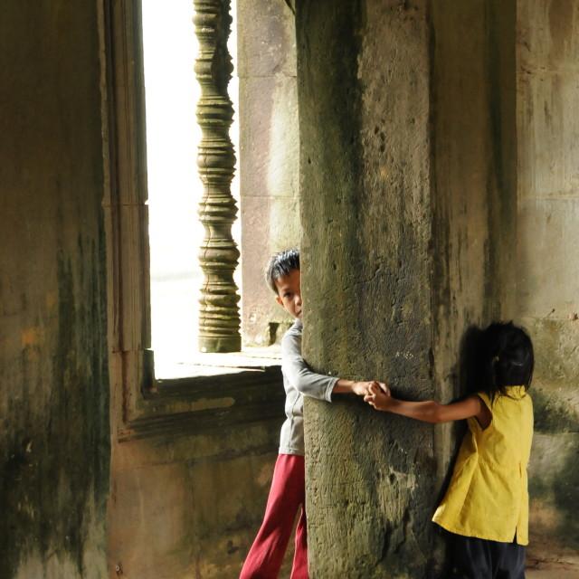 """""""Children in Angkor Wat"""" stock image"""