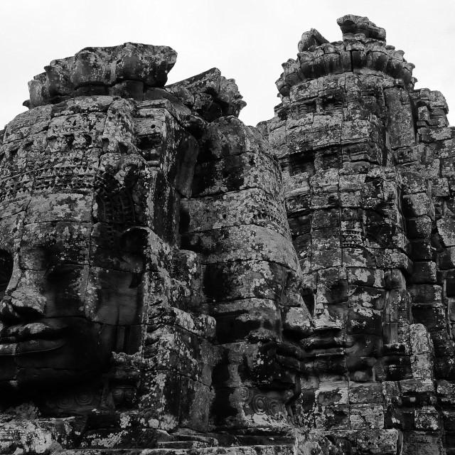 """Angkor Wat in Black and white"" stock image"