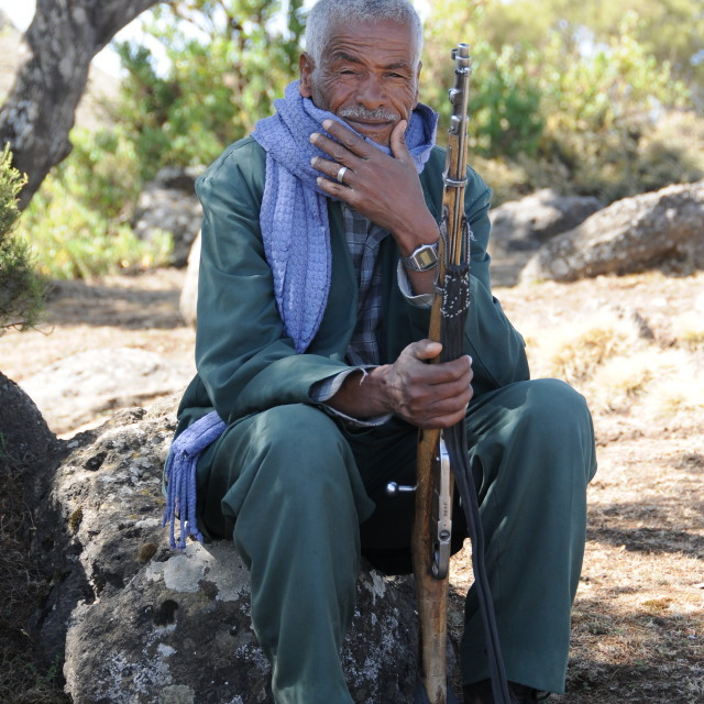 """Old guard in Simien Mountains"" stock image"