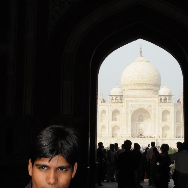 """""""Pondering Taj Majal"""" stock image"""