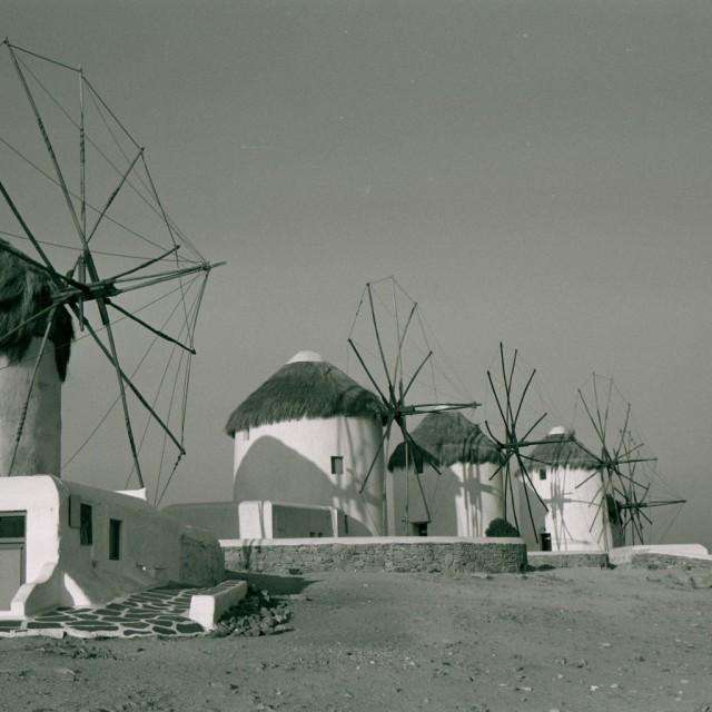 """Windmills in Mykonos"" stock image"