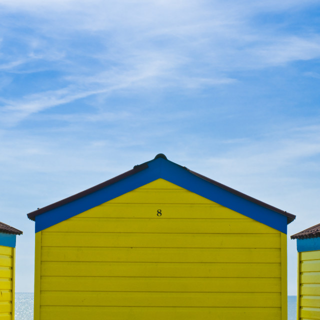"""""""Beach huts in blue and yellow 2"""" stock image"""