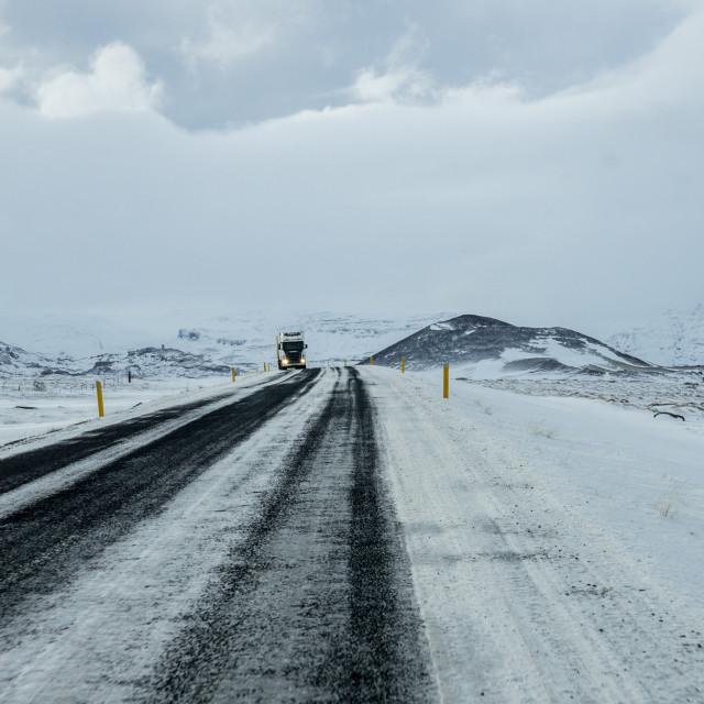 """Winter road, Iceland"" stock image"