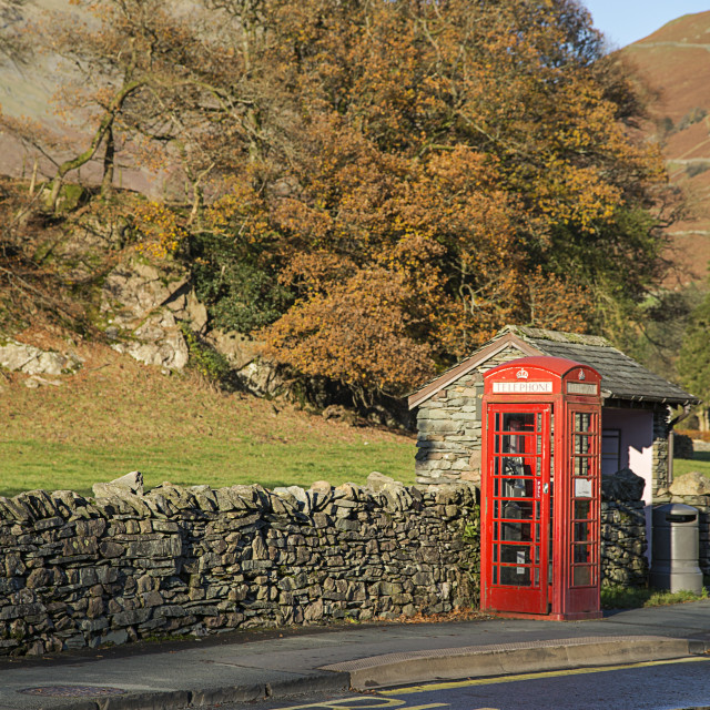 """""""Lakeland Telephone Box, Grasmere, England"""" stock image"""