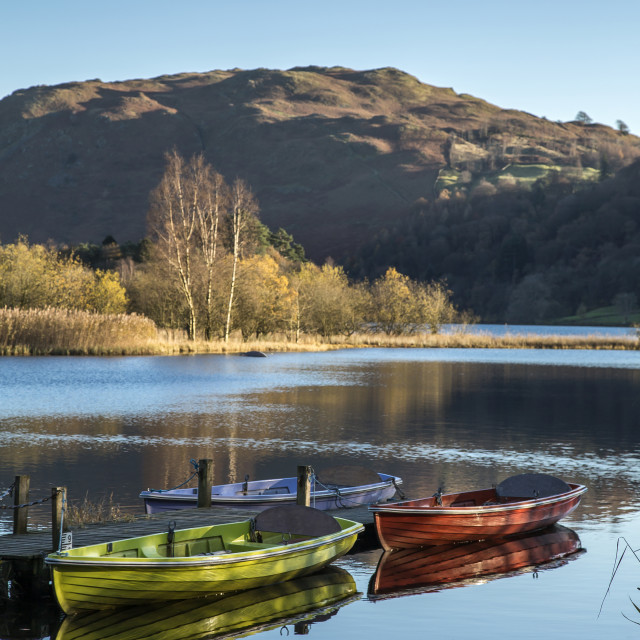 """Rowing Boats on Grasmere"" stock image"