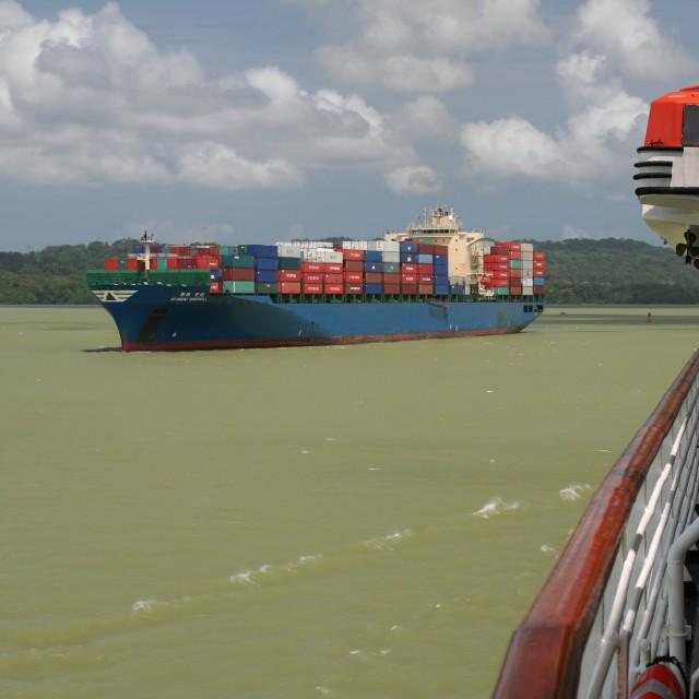 """Passing ships, Panama Canal"" stock image"