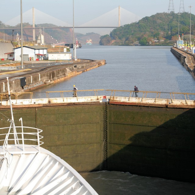 """In Panama Canal lock"" stock image"