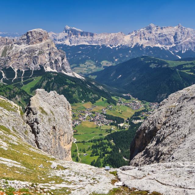 """Dolomiti - Val Badia aerial view"" stock image"