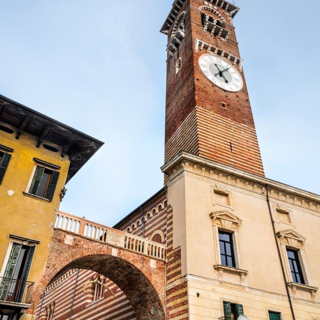 """Verona, Torre dei Lamberti"" stock image"