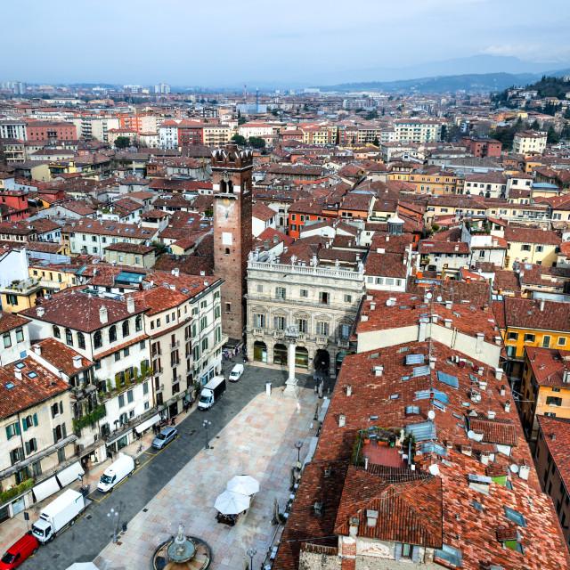 """""""Verona, Piazza delle Erbe"""" stock image"""