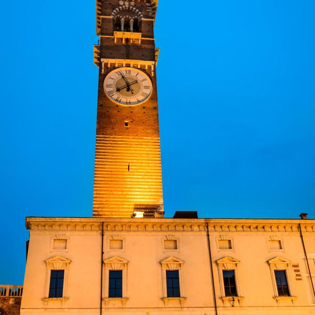 """Verona, Torre dei Lamberti twilight"" stock image"