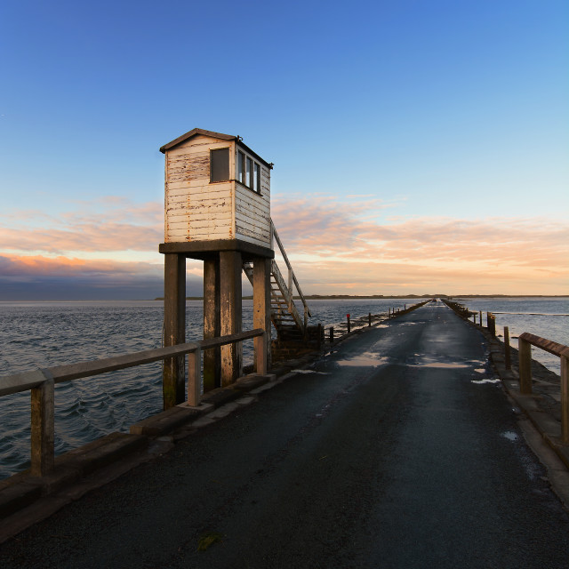 """Lindisfarne Causeway"" stock image"