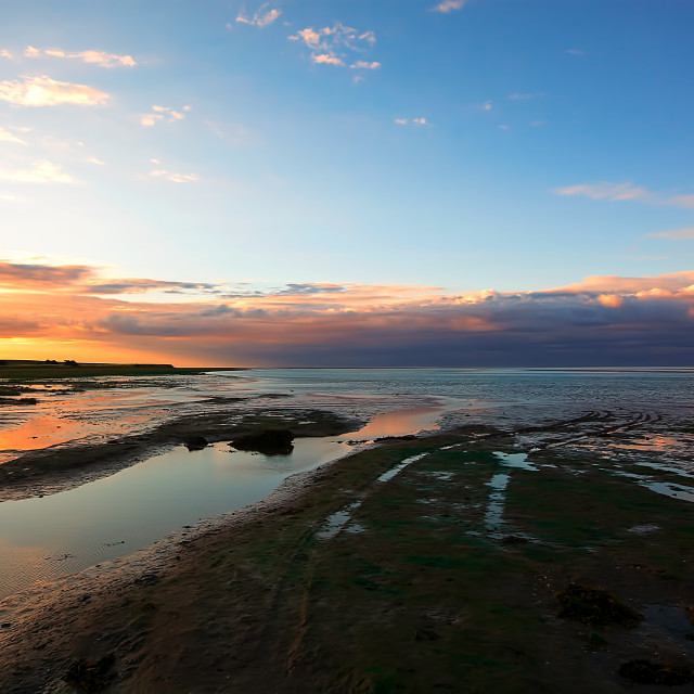"""""""Holy Island Sunset"""" stock image"""