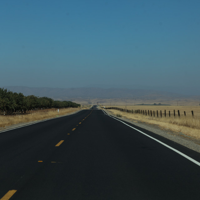 """Open road. Highway 140 to Yosemite National Park."" stock image"
