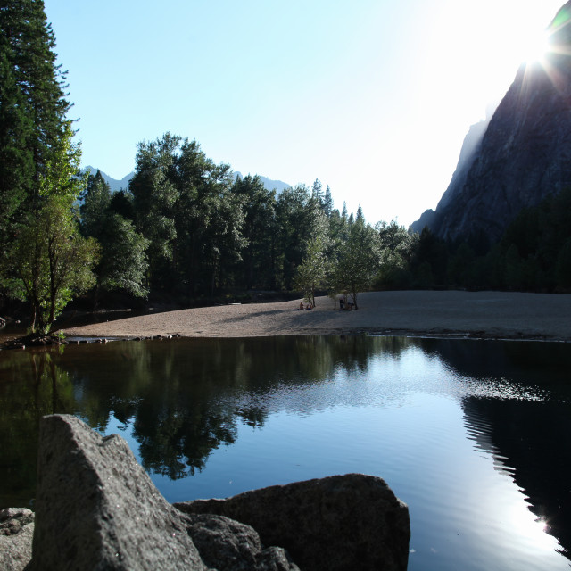 """Merced River sunrise in Yosemite National Park."" stock image"