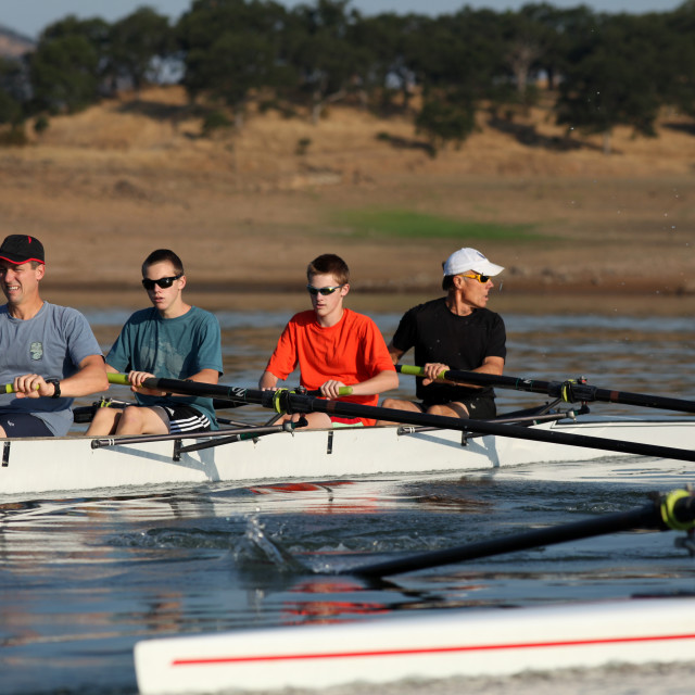 """""""Rowing a boat on this beautiful morning in southern Oregon."""" stock image"""