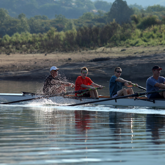 """Rowing a boat on this beautiful morning in southern Oregon."" stock image"